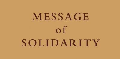 Message of solidarity from the General Government of the Order